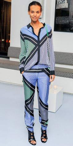 Geometrically lined printed ensemble by DVF ! Liya Kebede Announces The BORNFREE Campaign.