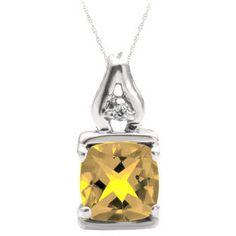 Simple Cushion Cut Citrine Birthstone Diamond White Gold Pendant Jewelry by gemologica on Etsy