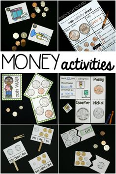 10 motivating money activities for kids! Awesome ideas for math centers and math games.