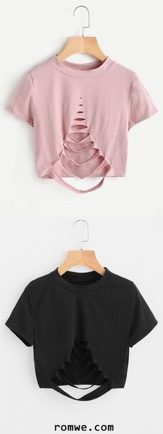Diy crop top, cute crop tops, summer crop tops, crop tee, c Fashion Mode, Diy Fashion, Ideias Fashion, Fashion Outfits, Dress Fashion, Korea Fashion, Ladies Fashion, Ripped Shirts, Cut Up Shirts