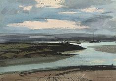 Rowland Hilder, P.R.I., R.S.M.A. (1905-1993) | East Coast Marsh ... Watercolor Landscape, Abstract Landscape, Landscape Paintings, Watercolor Painting Techniques, Watercolour Painting, Watercolors, Black And White Drawing, Pastel, Medium Art