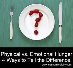 Physical vs. Emotional Eating. 4 Ways to Know Whether It's Time to Refuel With Food or to Find a Moment of Calm. http://eatingmindfully.com/emotional-vs-physical-hunger-4-ways-to-tell-the-difference/