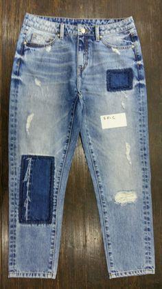 Contrast jeans Torn Jeans, Denim Jeans Men, Denim Fashion, Fashion Outfits, Patchwork Jeans, Vintage Denim, Menswear, Vogue, Indigo