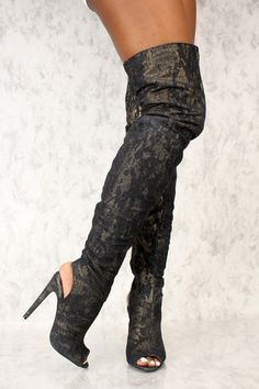 84e6623372715 Sexy Black Gold Shimmer Splatter Peep Toe Thigh High Heel Boots Denim