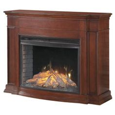 Hampton Bay Soames 53 in. Electric Fireplace in Cherry - MEFC3333CH at The Home Depot