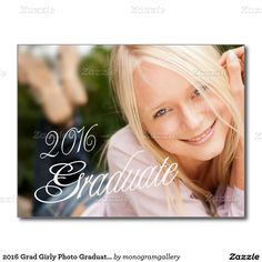 2016 Grad Girly Photo Graduation Party Invitation Postcard