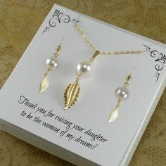 Great gift idea for the mother of the bride and groom.These pearl necklace and earring sets are just perfect for mothers' jewelry! Both sterling silver and gold filled are available.