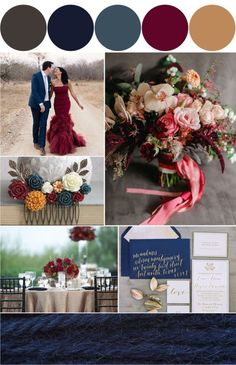 dusty blue and marsala wedding color themes - Google Search