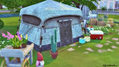 Tents Recolors for sims 4 in patchwork and rustic....   Inside Mandarina's Sim World