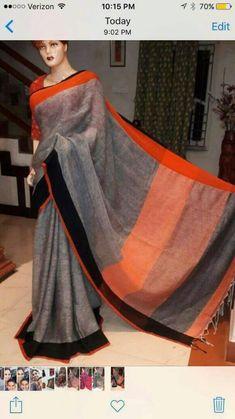 Pure handloom Linen sarees at (PID: Bengal handloom linen sarees Indian Attire, Indian Outfits, Velvet Saree, Western Outfits Women, Online Shopping Sarees, Plain Saree, Elegant Fashion Wear, Saree Dress, Sari Blouse