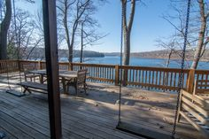 Now this is a deck!! This awesome Lakefront home at Deep Creek Lake feature multi-layer decks - one with swings! Having limited yard space or a steep lakefront lot can force you to think outside the box when it comes to building decks and porches.