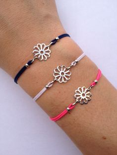 Flower Charm Bracelet with nylon cord and adjustable by IzouBijoux