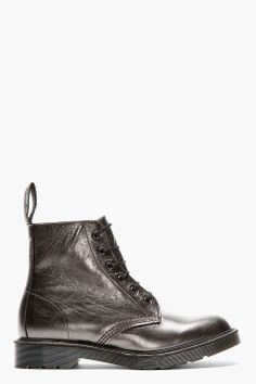 DR. MARTENS Pewter grey leather PIETRO 6-EYE BOOTS