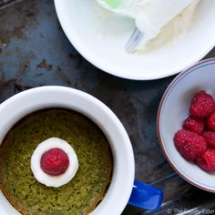 Matcha Green Tea Mug Cake - A Pictorial version of how to make the recipe using your microwave or oven. Great recipe for two and is an easy clean-up!