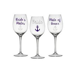 2fa6675a463 Bride, Bride Mates, Mate of Honor Gift Set of 3, Bridal Party Glasses ,  Bachelorette Glasses, Bride to be Wine Glass , Maid of Honor Wine