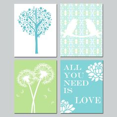 Nursery Art - Love Birds, All You Need Is Love, Tree Dot, Dandelion Floral - Set of Four 8x10 Prints - Choose Your Colors