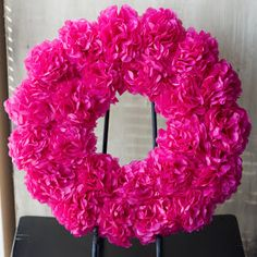 Tissue Paper Wreath Tutorial.  Great idea for decorating a wedding or baby shower.