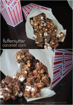 Fluffernutter Caramel Corn: homemade caramel corn with Reese's, marshmallow, chocolate and peanut butter!