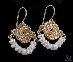 Wedding gold and pearls earrings 18 K gold by RavitAshkenazi, $75.00