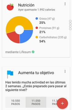 #GoogleFit me propone aumentar mi objetivo y ya tengo mis datos alimenticios gracias a #LifeSum. Esto marcha!