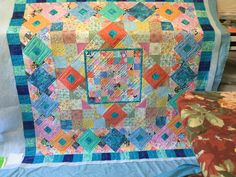 Ice Sorbet! I had the honor of quilting this for my friend, Irma Bast. It is from a Gyleen Fitzgerald mystery class. It was one of twenty chosen for special exhibit at Houston Quilt Festival this year! We are thrilled!