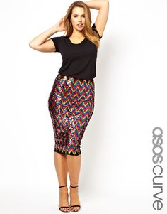 ASOS CURVE Pencil Skirt In Rainbow Sequins