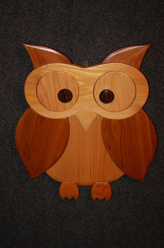 LARGE OWL intarsia art carving by GielishWoodSculpture