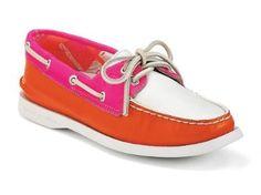 Sperry Women's Authetic Original 2-Eye Boat Shoe Orange/Pink/White Size 7.5 Sperry Top-Sider. $69.95