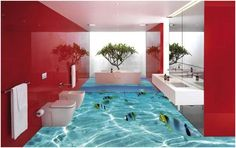 These 3D Bathroom Floors Will Make You Dizzy.. With Envy.. For more info, visit www.3dfloorings.com Call us on +91-9873154253 or write to us at info@3dfloorings.com