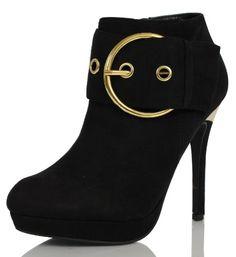 Black Faux Suede Gold Buckle Metallic Trim Platform HIgh Heel Ankle Boot