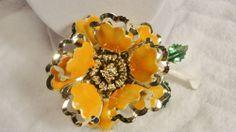 Vintage Enamel Flower Brooch Orange Gold Green Lots Details Textured Center #Jewelry #Deal #Fashion