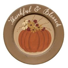 Thankful \u0026 Blessed Pumpkin Plate is made of pressed wood and features a painted pumpkin adorned with fall florals. Measures in diameter. For decorative  sc 1 st  Pinterest & Primitive Happy Fall Y\u0027all Decorative Plate Pumpkin | Happy fall ...