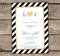 Gold & Black Monogram Engagement Invitations - Printed, Black, White, Wedding, Bridal Shower, Couples Shower, Striped, Formal - SHOP: chitrap.etsy.com