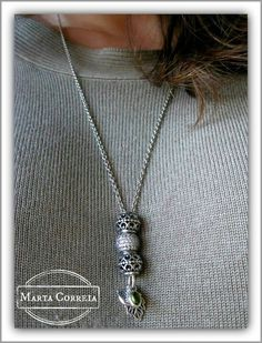 PANDORA Necklace with Pave and Forest Trinity Charm.