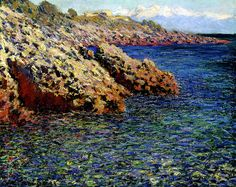 W 1185 CM 1888 The Mediterranean Sea ( Cap d'Antibes), Claude Monet. Cour-Mon - Columbus Museum of Art, OH by renzodionigi, via Flickr-my first true love; when I saw the Monet in the Mediterranean exhibit in Dallas TX in 1997, I burst into tears in front of this painting. Whenever I see his work it's like my soul has come back into the light.