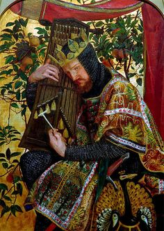 """""""David as King"""" (from """"The Seed of David"""" triptyck)  by Dante Gabriel Rossetti, in Llandaff Cathedral"""