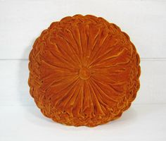 Vintage Pillow Round Velvet Orange 1960's Pintucked Smocked Retro Home Decor PeachyChicBoutique on Etsy