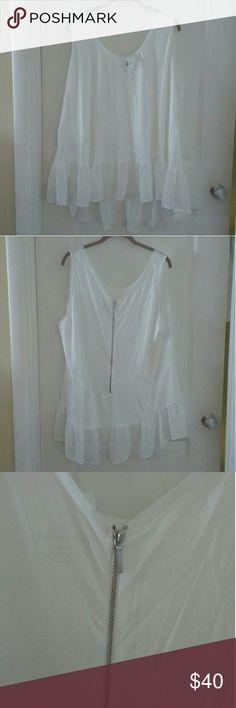 Lane Bryant Shirt NWT Sleeveless White Shirt with Zipper up Back, Sheer Fabric on Bottom Lane Bryant Tops Blouses