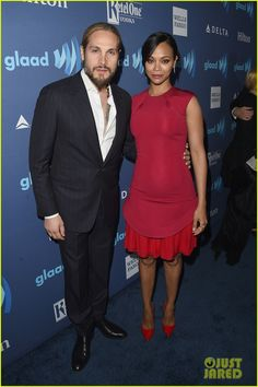 Zoe Saldana looks pretty in pink at the 2015 GLAAD Media Awards at The Beverly Hilton Hotel on Saturday evening (March 21) in Beverly Hills, Calif.