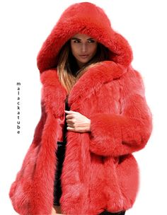 Very massive and heavy coat. Winter Wear, Autumn Winter Fashion, Fox Fur Coat, Fur Coats, Red Fur, Red Faux Fur Coat, Fabulous Furs, Long Jackets, Fur Fashion