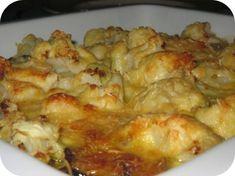 Op dit eetdagboek kookblog : Ingrediënten: 400 gram bloemkool, 1 ui, 150 gram gehakt, 200 gram champignons, zout, peper, kerriepoeder, 250 ml kookroom, 1 ei, zout, peper, 30 gram geras