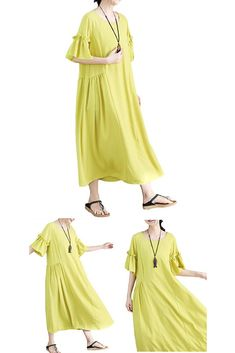 e93dedc184 AsherFashion Women s Dresses Loose Short Sleeve Casual Maxi Dresses Summer  Beach Linen Dresses
