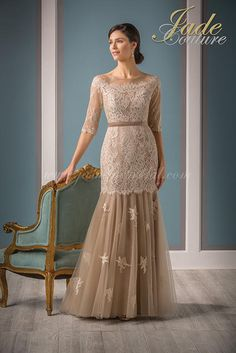 Jasmine Bridal Jade Couture Style in Latte / Latte // Ball Dresses, Ball Gowns, Evening Dresses, Dresses With Sleeves, Party Dresses, Dress Sleeves, Mob Dresses, Half Sleeves, Mother Of The Bride Dresses Long