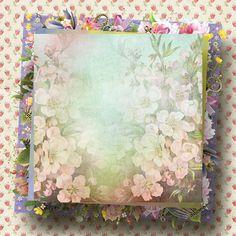 Pâques, printemps : fond scrap - Background for scrap