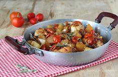 Pollo e patate in padella - Tenerissimo e saporito Rigatoni, Kung Pao Chicken, Italian Recipes, Potato Salad, Soup, Potatoes, Meat, Ethnic Recipes, Carne