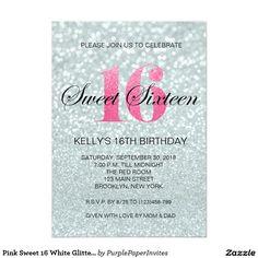 Pink Sweet 16 White Glitter Lights Invitation