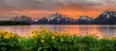 A little pano of the AMAZING sunset I got at The Grand Tetons :)