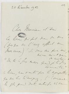 Lettre de Marcel Proust à Henri de Régnier 20 décembre 1913--Réunion des Musées Nationaux-Grand Palais -