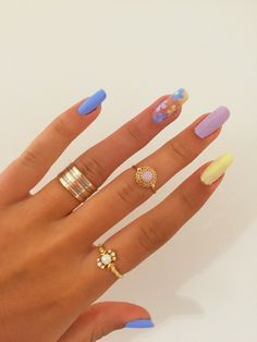 Simple Acrylic Nails, Best Acrylic Nails, Summer Acrylic Nails, Pastel Nails, Purple Nails, Spring Nails, Summer Nails, Nail Design Glitter, Acylic Nails