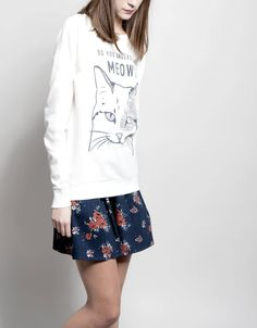 Felpa gato 'meow' 9,99€ www.shana.com #fashion #trends #ropa